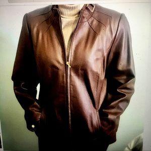 Bradley Bayou Genuine Leather Jacket Brown Size M